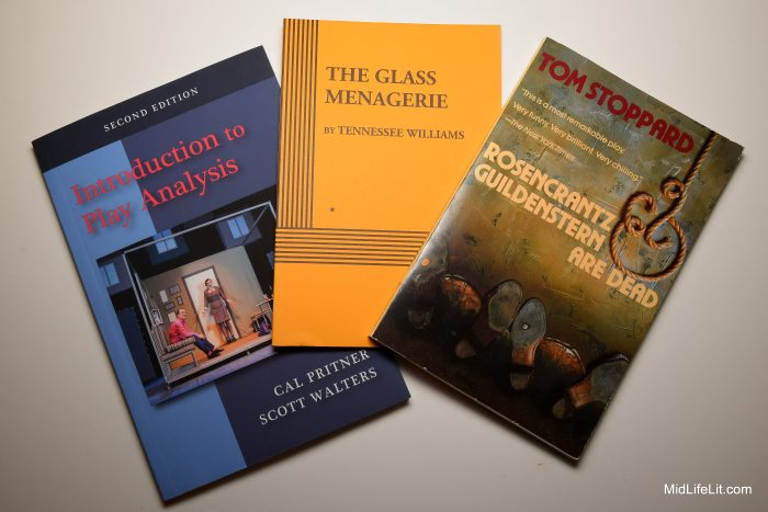 Textbooks for Study of Filmed Plays class: Introduction to Play Analysis by Cal Pritner and Scott Walters, The Glass Menagerie by Tennessee Williams, and Rosencrantz & Guildenstern Are Dead by Tom Stoppard