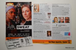"Program cover for ""Sweat,"" San Diego Repertory Theatre, Lyceum Stage."