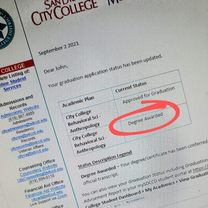 Email letter from San Diego Community College District